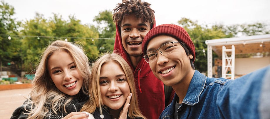 group of smiling diverse youth